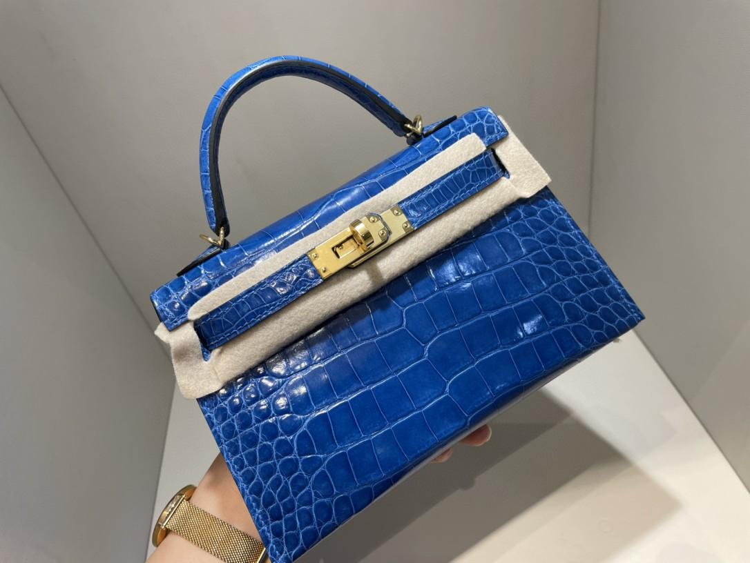 Hermès(爱马仕)Mini kelly ll Alligator shiny 亮面鳄鱼 7Q 希腊蓝 金扣 顶级手缝 现货