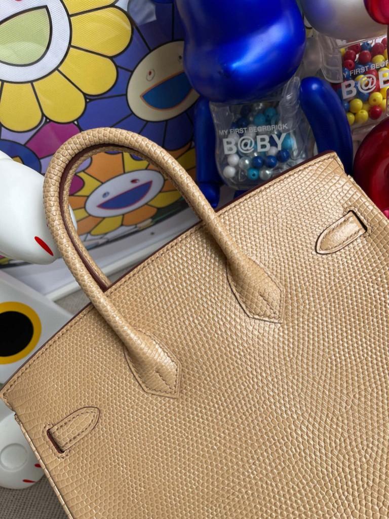 Hermès(爱马仕)Birkin 铂金包 Lizard 进口亮面蜥蜴 杏色 银扣 25cm 顶级手缝 定制