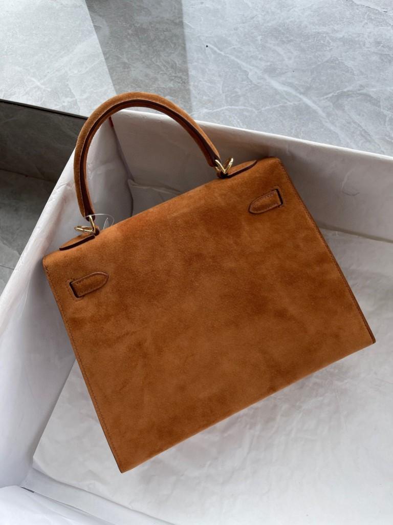 Hermès(爱马仕)Kelly 凯莉包 麂皮 ck37 金棕色 Gold 金扣 25cm 顶级手缝 现货