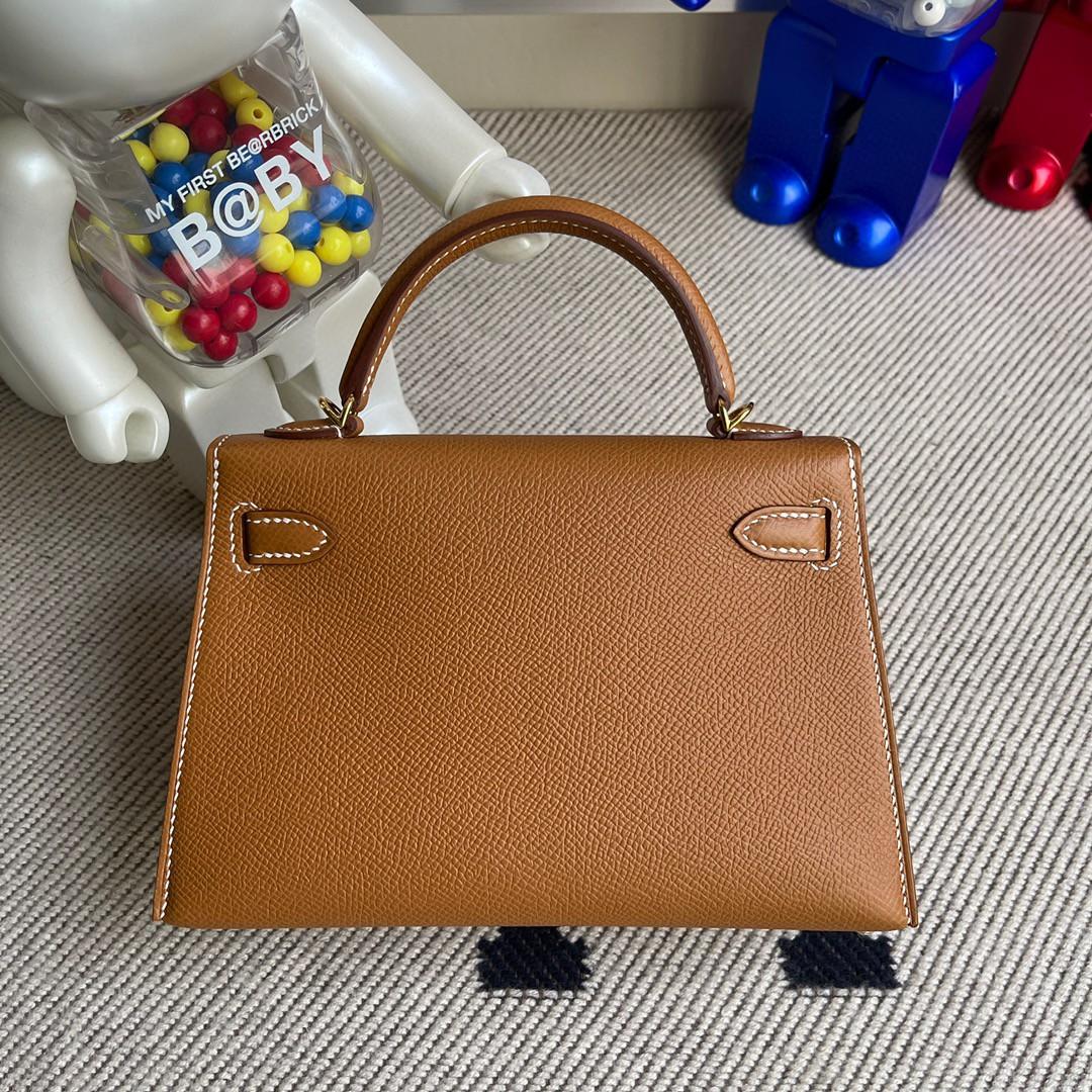 Hermès(爱马仕)Minikelly ll Epsom 原厂掌纹皮 ck37 金棕 gold 金扣 现货
