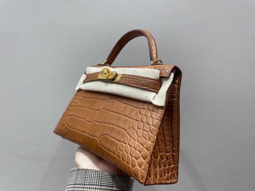 Hermès(爱马仕)Mini kelly ll Alligator matt 雾面鳄鱼 马鞍棕 金扣 顶级手缝 现货