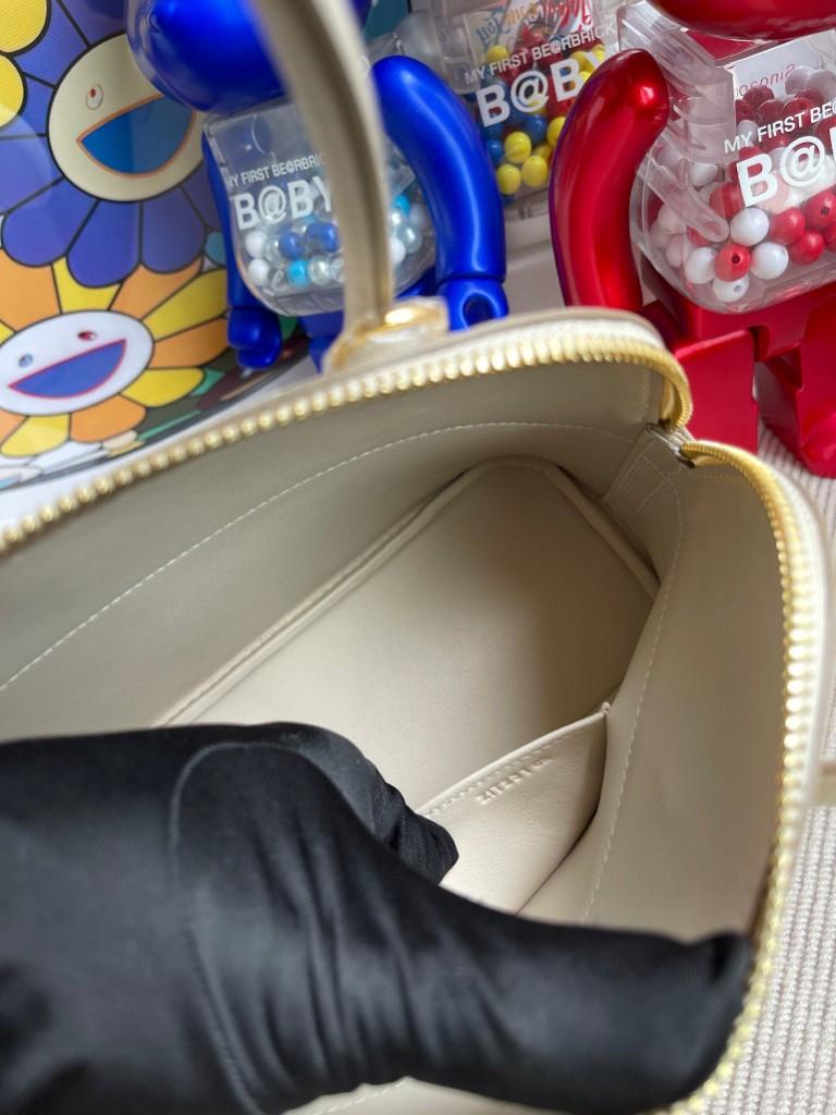 Hermès(爱马仕)Bolide 保龄球包 Epsom 原厂掌纹皮 ck10 奶昔白 Craie 金扣 27cm 顶级手缝