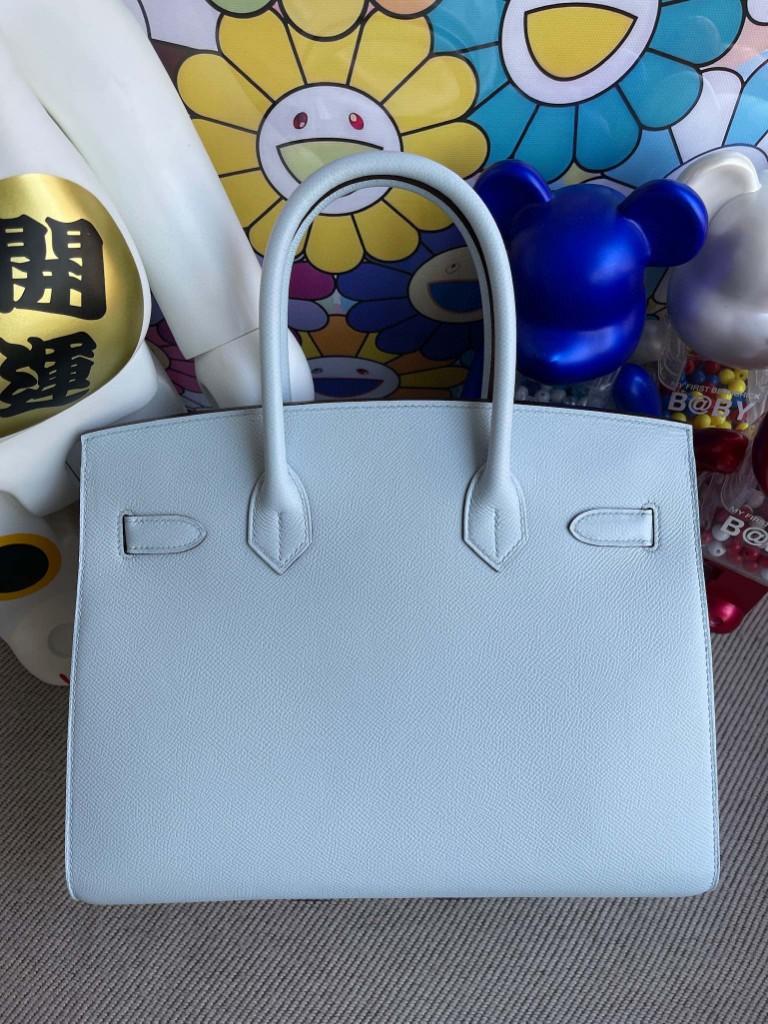 Hermès(爱马仕)Birkin 铂金包 Epsom 原厂掌纹皮 T0 雾蓝色 银扣 30cm 顶级手缝 定制