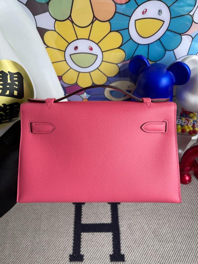 Hermès(爱马仕)Mini pochette Epsom 原厂掌纹皮 8W 唇膏粉 rose azalee 金扣 22cm 手拿包 晚宴包