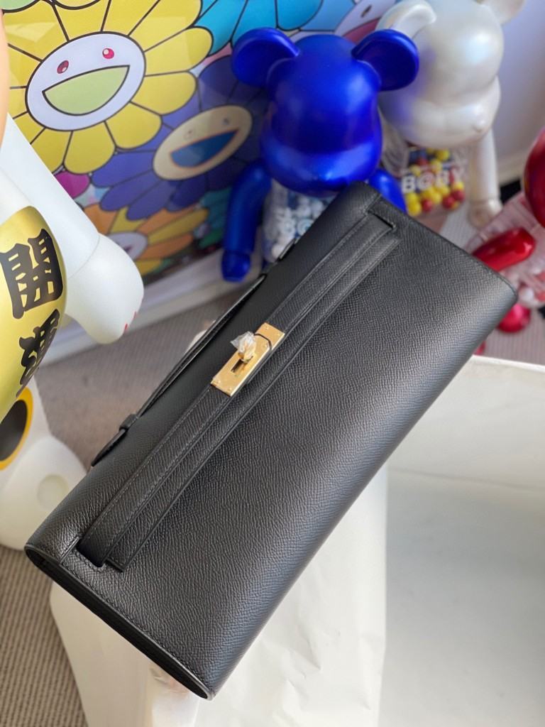 Hermès(爱马仕)Kelly cut Epsom 原厂掌纹皮 ck89 黑色 Noir 金扣 顶级手缝