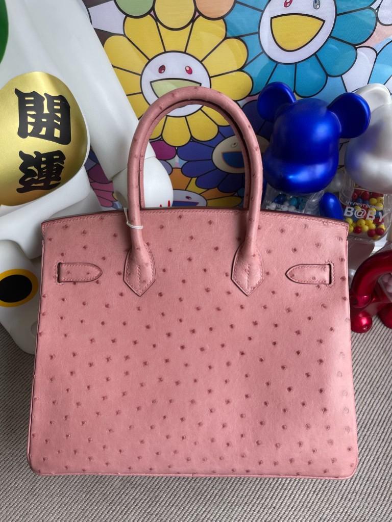 Hermès(爱马仕)Birkin 铂金包 Ostrich kk 鸵鸟 cc94 陶瓷粉 金扣 30cm 定制