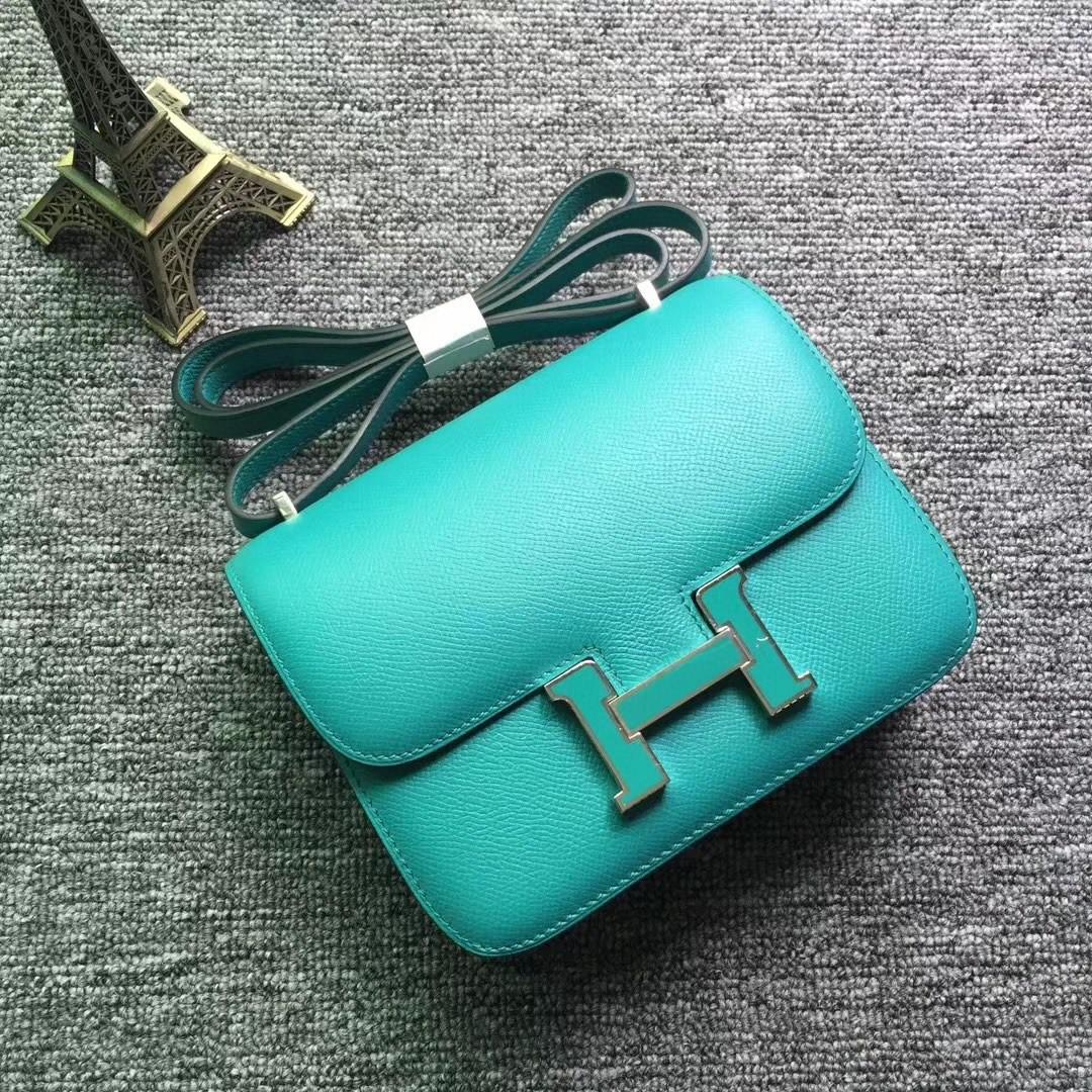 Hermès(爱马仕)Constance 空姐包 Epsom 原厂掌纹 7F 孔雀蓝 内拼 薄荷绿 珐琅扣 19cm 现货