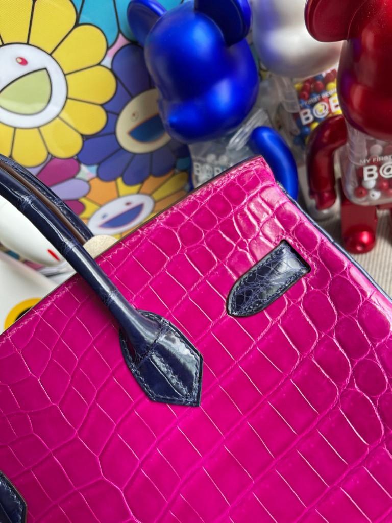 Hermès(爱马仕)Birkin 铂金包 Crocodile shiny 亮面鳄鱼 J5 天方夜谭粉紫 拼 宝石蓝 钻扣银扣 30cm 特别定制