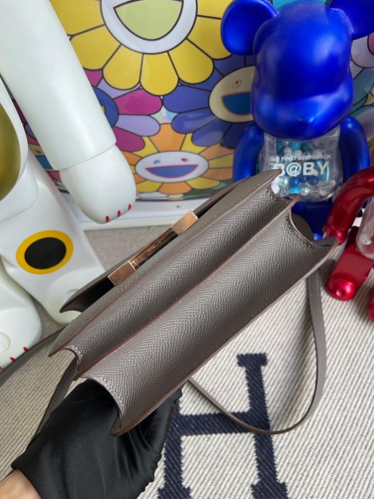 Hermès(爱马仕)Constance 空姐包 Epsom 原厂掌纹皮  M8 沥青灰 Gris ashpite 玫瑰金扣 18cm 顶级手缝