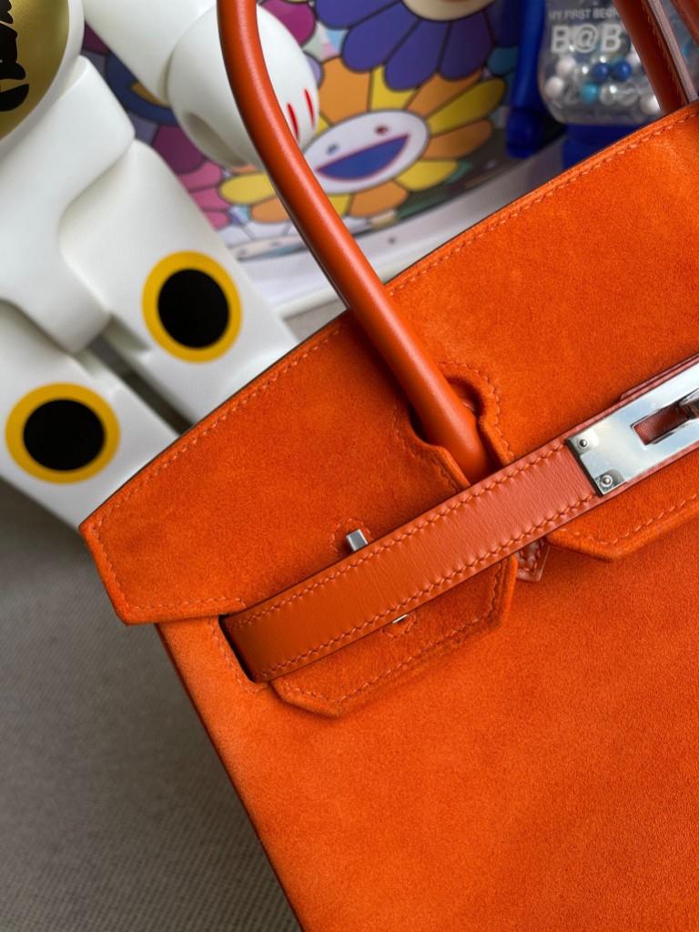 Hermès(爱马仕)Birkin 铂金包 麂皮 橙色拼boxcalf 橙色 银扣 30cm 顶级手缝 定制