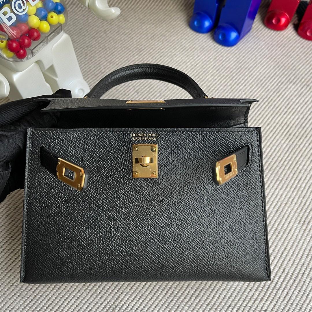 Hermès(爱马仕)Mini kelly ll Epsom 原厂掌纹皮 ck89 黑色 noir 金扣 顶级手缝 现货