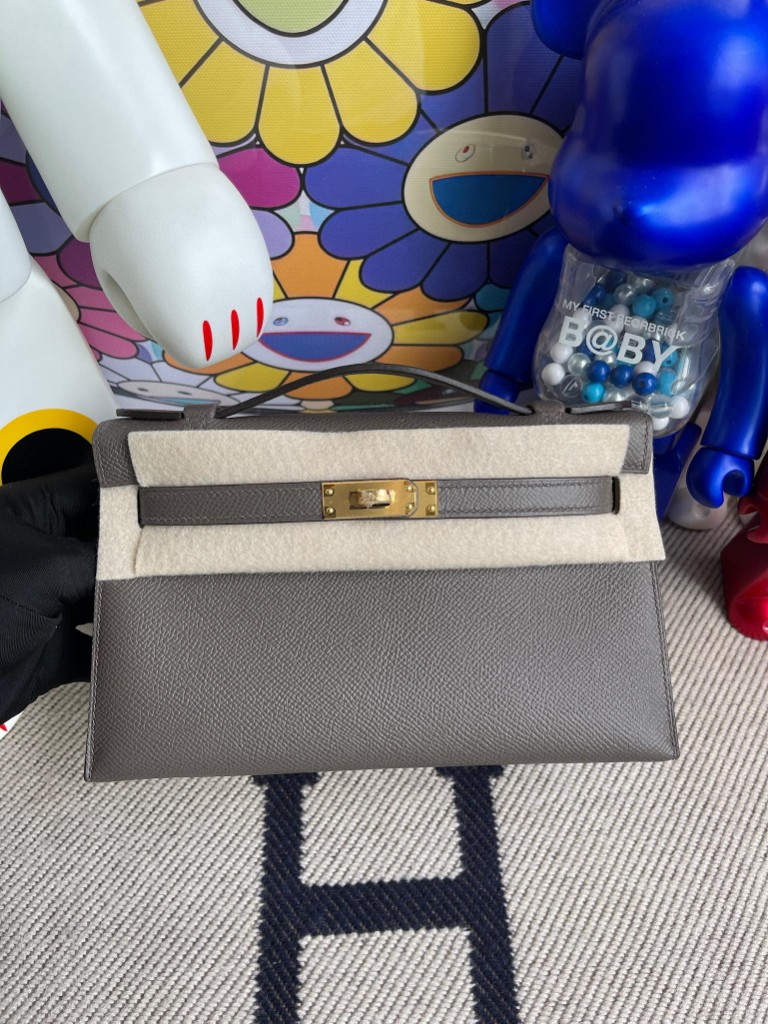 Hermès(爱马仕)Mini kelly pochette Epsom 原厂掌纹皮 8F 锡器灰 etain 金扣 22cm 顶级手缝 手拿包 晚宴包