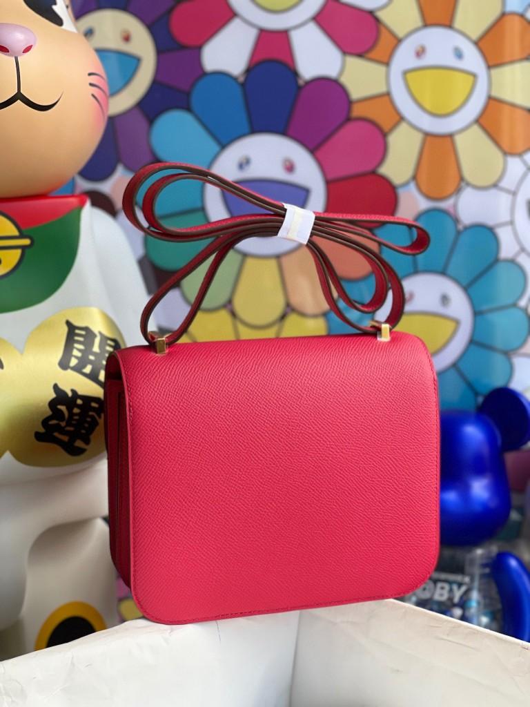 Hermès(爱马仕)Constance 空姐包 Epsom 原厂掌纹皮 i6 极致粉 金扣 18cm 顶级手缝