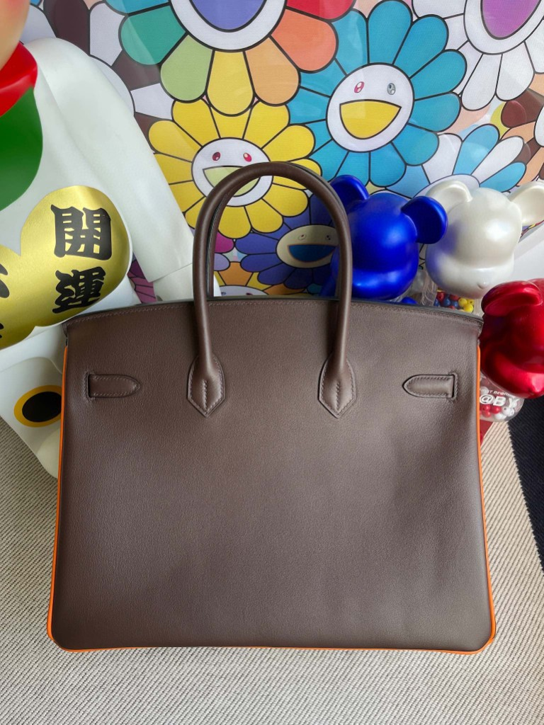 Hermès(爱马仕)Birkin 铂金包 Swift 巧克力色拼橙色 银扣 35cm 马蹄印 顶级手缝 定制