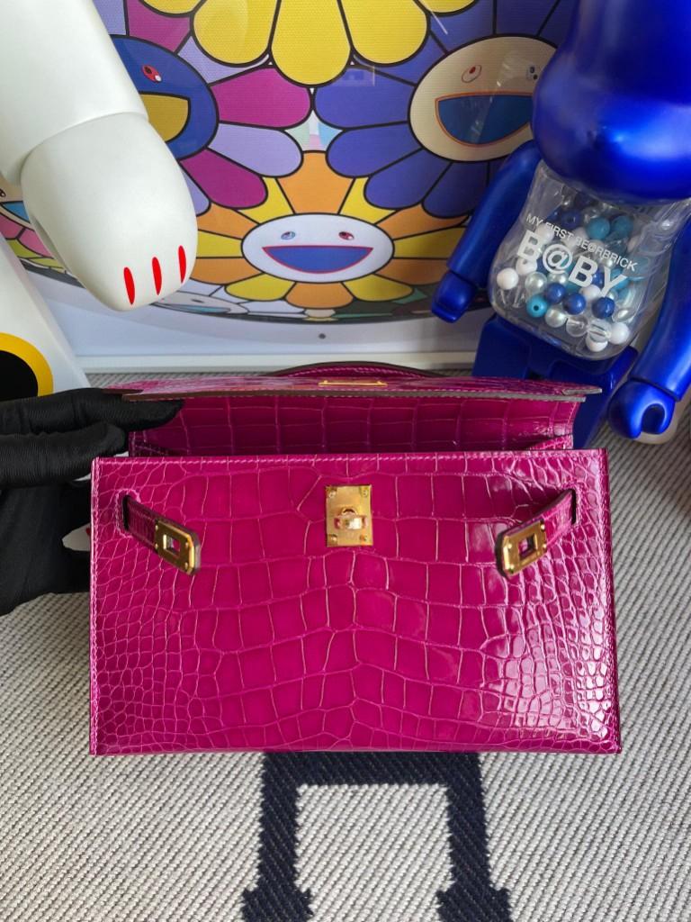 Hermès(爱马仕)Mini kelly pochette Alligator shiny 亮面鳄鱼 J5 天方夜谭粉紫 金扣 22cm