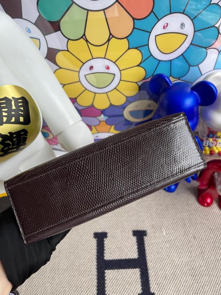 Hermès(爱马仕)kelly pochette Lizard 进口亮面蜥蜴 巧克力色 金扣 22cm 手拿包 晚宴包