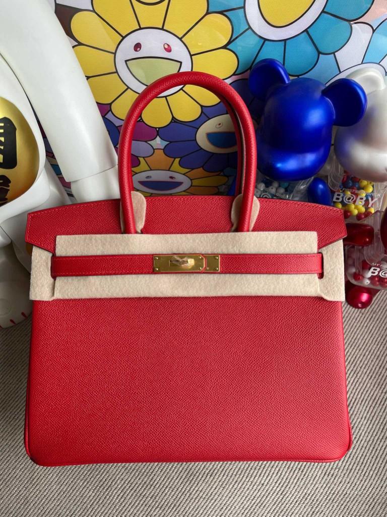 Hermès(爱马仕)Birkin 铂金包 Epsom 原厂掌纹皮 Q5 国旗红 Rouge casaque 金扣 30cm 顶级手缝