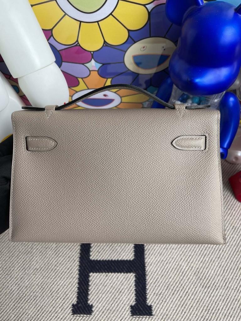 Hermès(爱马仕)Mini pochette Epsom 原厂掌纹皮 M8 沥青灰 Gris ashpite  金扣 22cm 手拿包 晚宴包