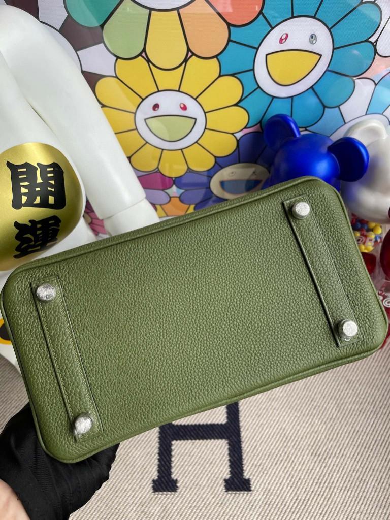 Hermès(爱马仕)Birkin 铂金包 原厂小牛皮 橄榄绿 银扣 25cm 顶级手缝