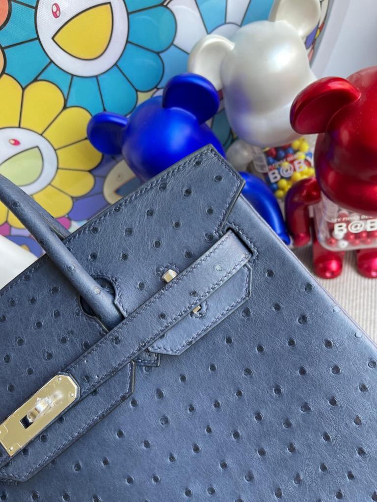 Hermès(爱马仕)Birkin 铂金包 Ostrich kk鸵鸟 马耳他蓝 银扣 30cm 顶级手缝