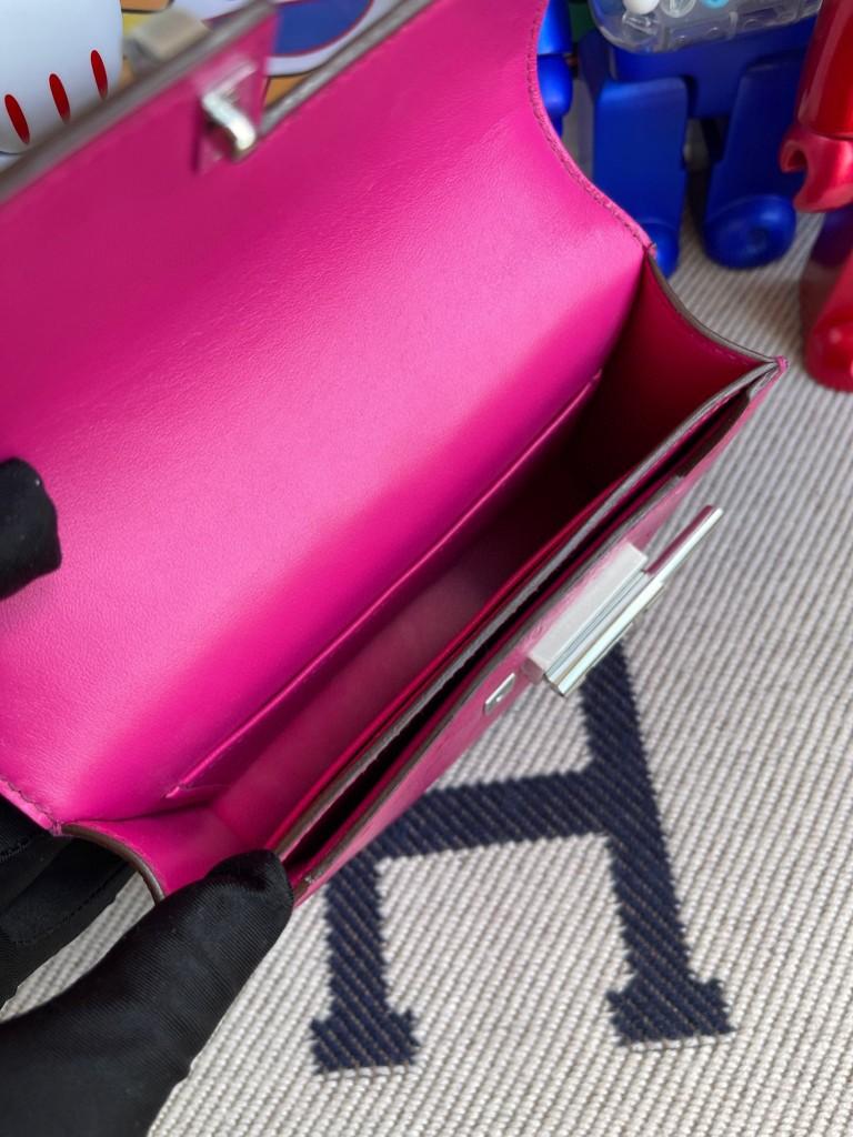 Hermès(爱马仕)Verrou 插销包 Ostrich kk鸵鸟 5J 天方夜谭粉紫 银扣 17cm 顶级手缝