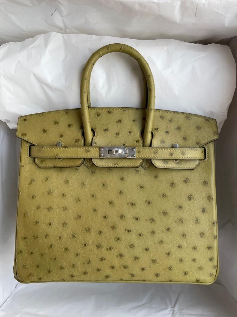 Hermès(爱马仕)Birkin 铂金包 Ostrich kk鸵鸟 草绿色 银扣 25cm 顶级手缝