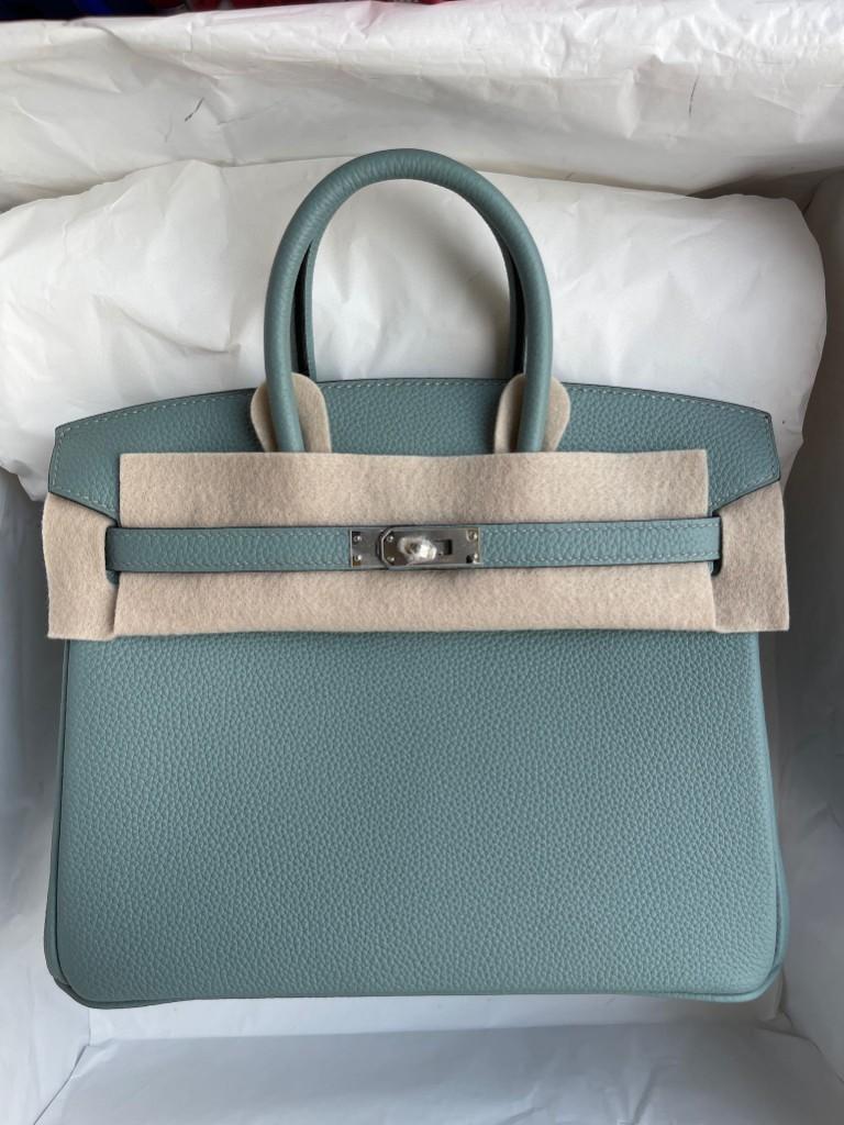 Hermès(爱马仕)Birkin 铂金包 原厂小牛皮 7G 天青蓝 银扣 25cm 顶级手缝