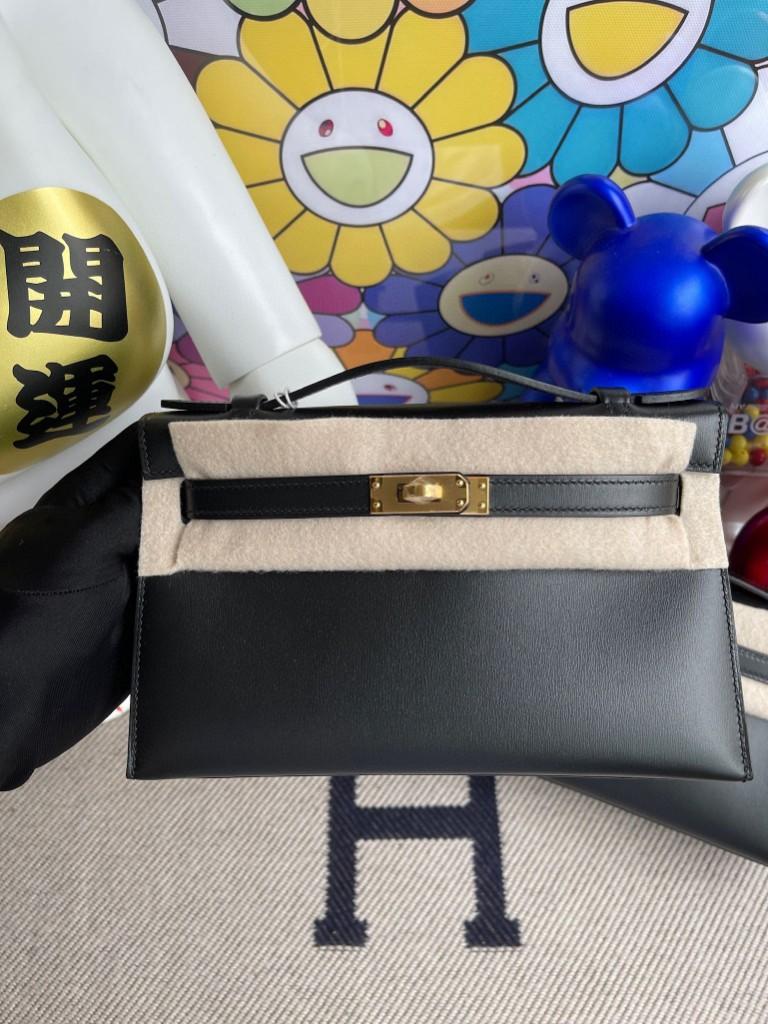 Hermès(爱马仕)Mini kelly pochette Boxcalf 黑色 Noir 金扣  22cm 顶级手缝  手拿包 晚宴包