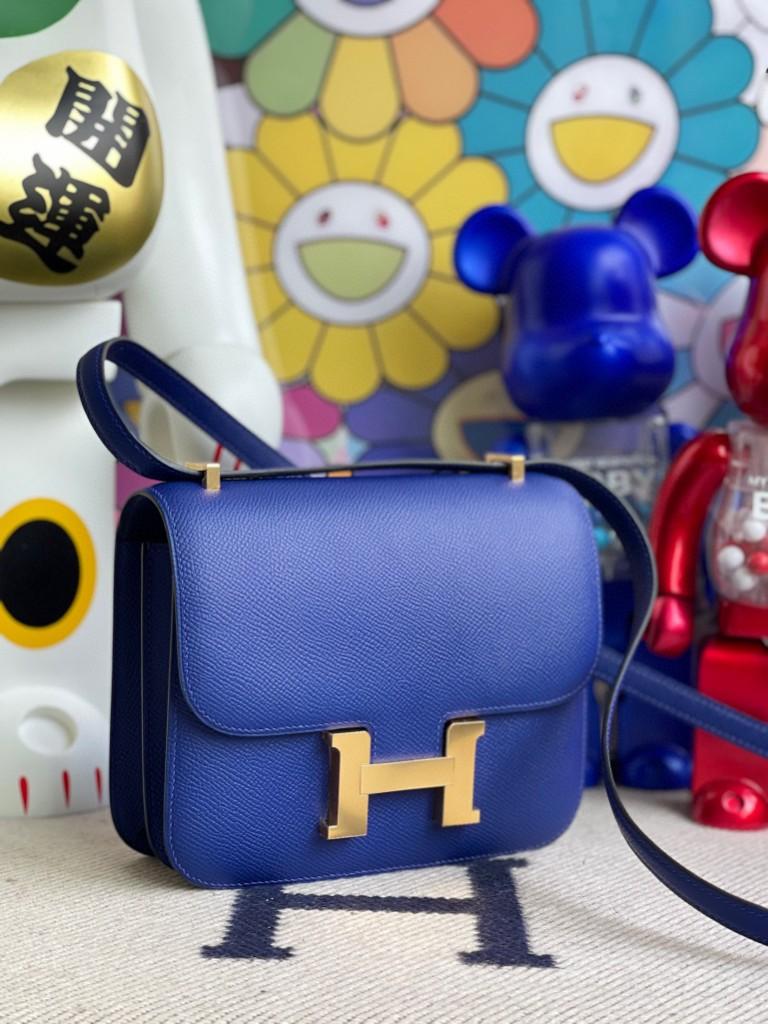Hermès(爱马仕)Constance 空姐包 Epsom 原厂掌纹皮 7T 电光蓝 金扣 18cm 顶级手缝