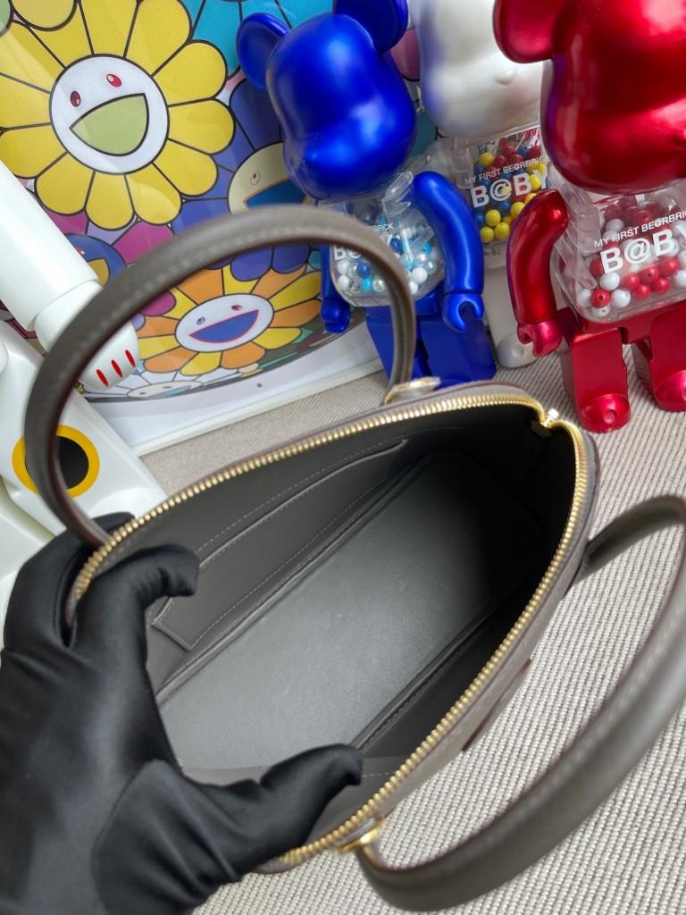 Hermès(爱马仕)Bolide 保龄球包 Epsom 原厂掌纹皮 8F 锡器灰 Etain 金扣 27cm 顶级手缝