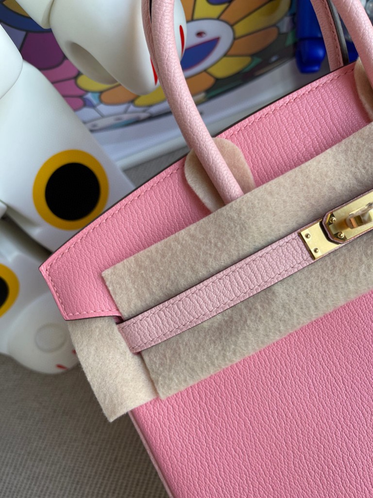 Hermès(爱马仕)Birkin 铂金包 山羊皮 5p 樱花粉拼 3Q粉 金扣 马蹄印 25cm 顶级手缝