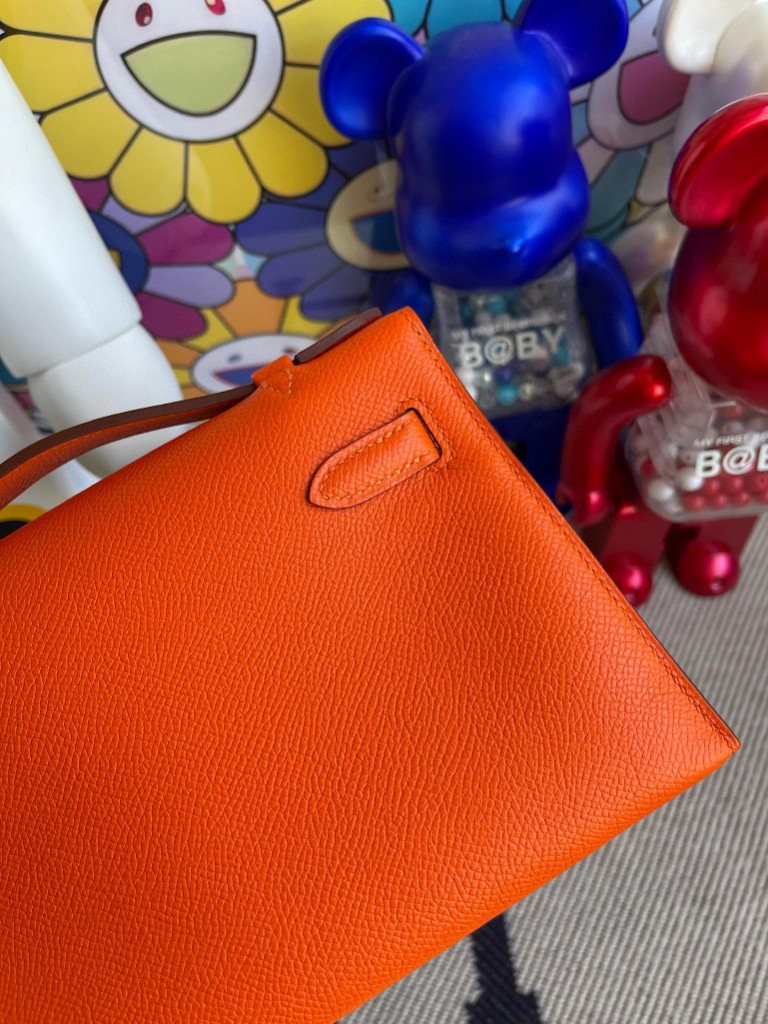 Hermès(爱马仕)Mini kelly pochette Epsom 原厂掌纹皮 火焰橙 金扣 22cm 顶级手缝 手拿包 晚宴包