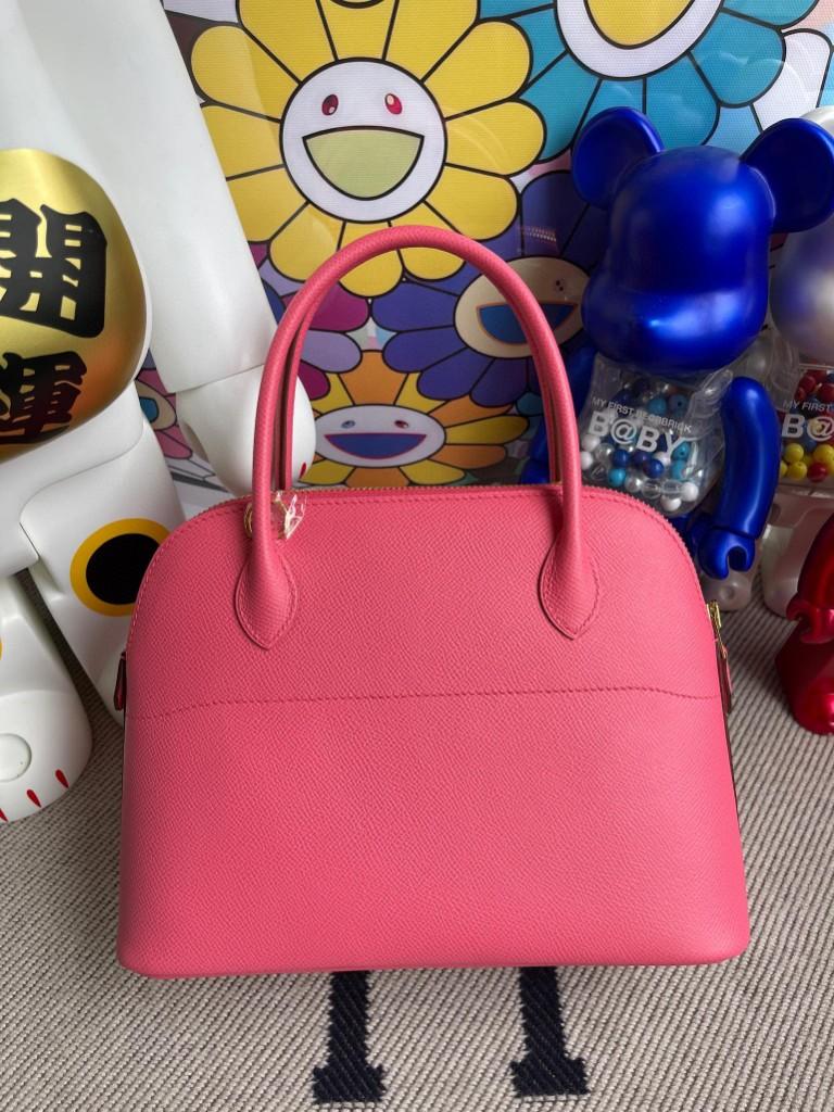 Hermès(爱马仕)Bolide 保龄球包 Epsom 原厂掌纹皮 8W 唇膏粉 rose gold 金扣 27cm 顶级手缝
