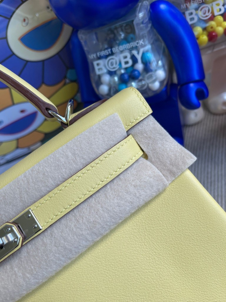 Hermès(爱马仕)Kelly 凯莉包 Swift 1Z 小鸡黄 银扣 25cm 顶级手缝 定制