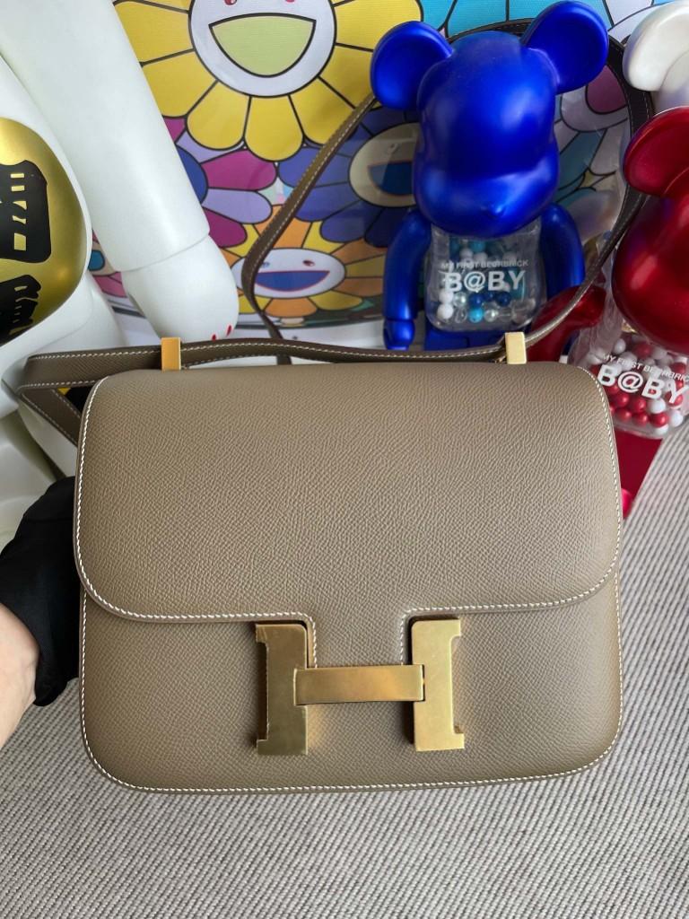 Hermès(爱马仕)Constance 空姐包 Epsom 原厂掌纹皮 ck18 大象灰 Etoupe 金扣 24cm 顶级手缝