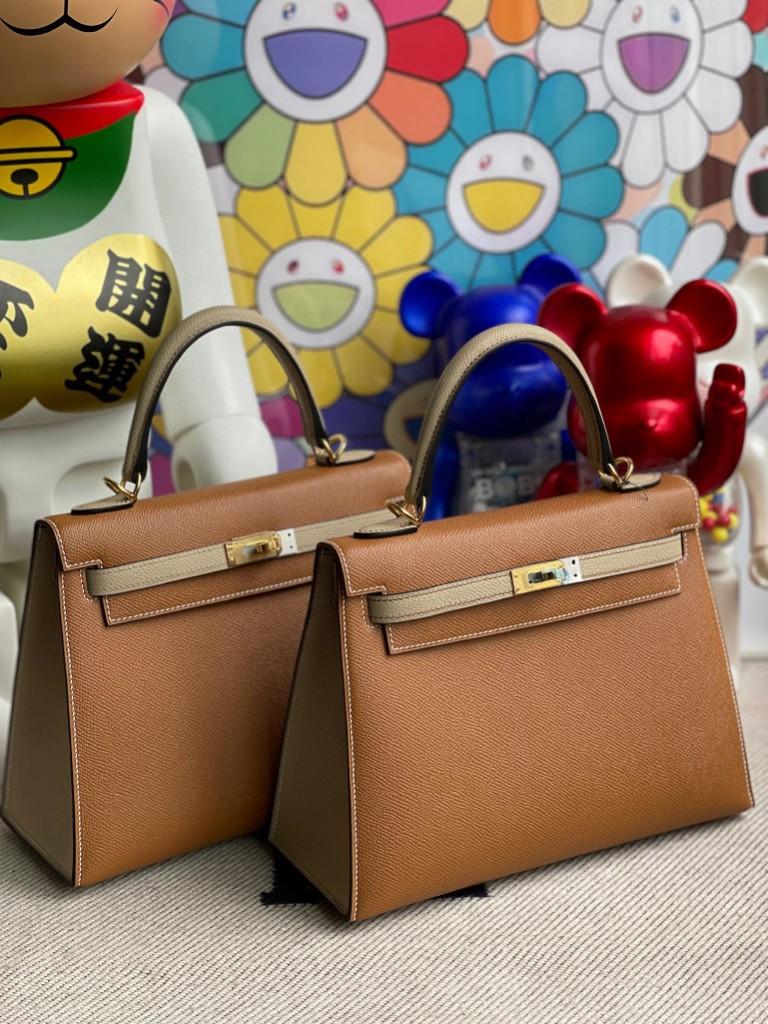 Hermès(爱马仕)Kelly 凯莉包 Epsom 原厂掌纹皮 ck37 金棕色 拼 S2 风衣灰 金扣 25cm 马蹄印 顶级手缝