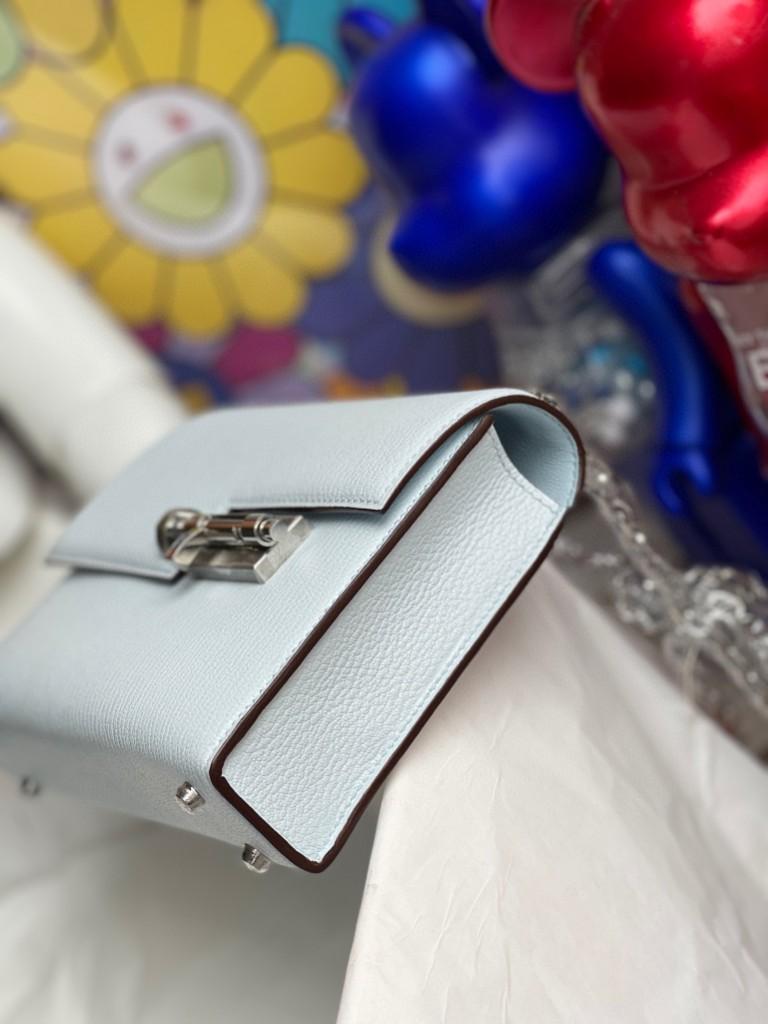 Hermès(爱马仕)Verrou 插销包 Chevre T0 雾蓝色 银扣 17cm 顶级手缝