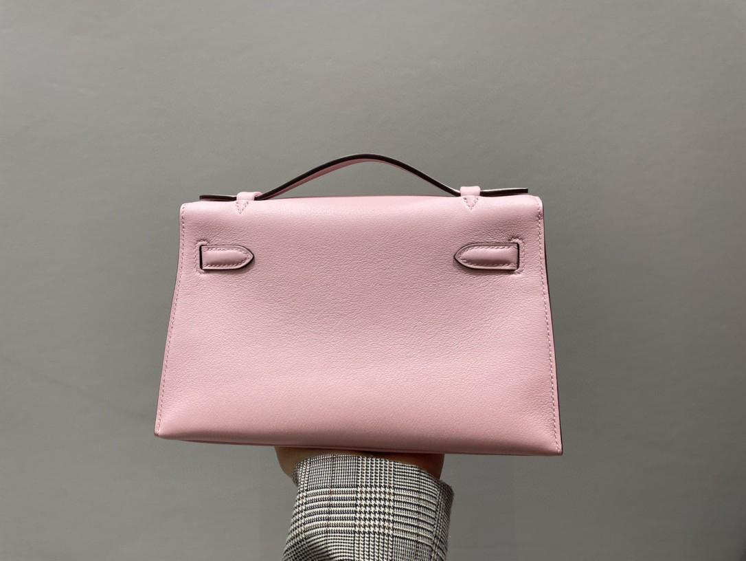 Hermès(爱马仕)Mini pochette Swift 3Q粉 芭比粉 金扣 22cm 手拿包 晚宴包
