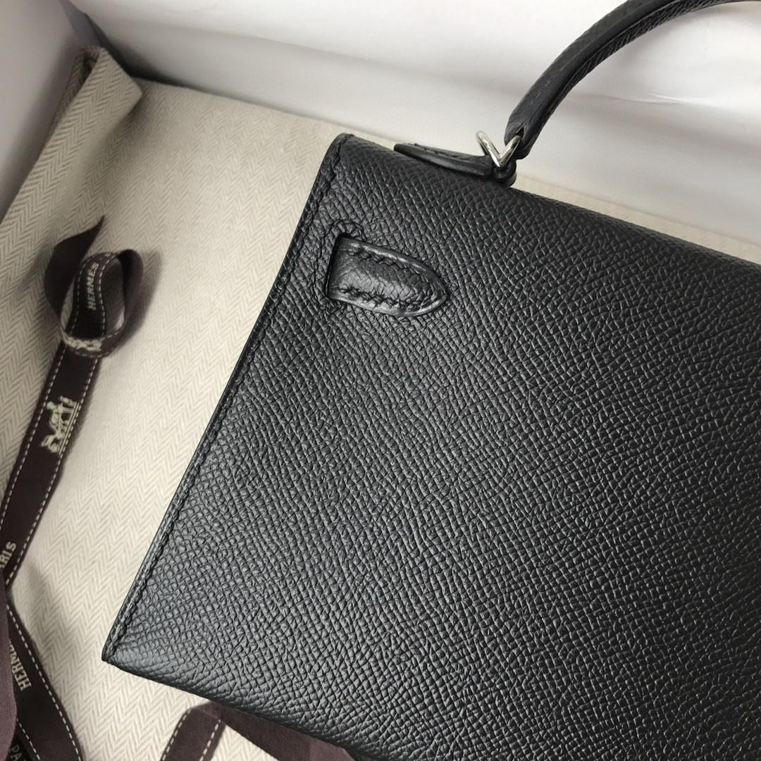 Hermès(爱马仕)Mini kelly ll Epsom 原厂掌纹皮 ck89 黑色 noir 银扣 顶级手缝 现货