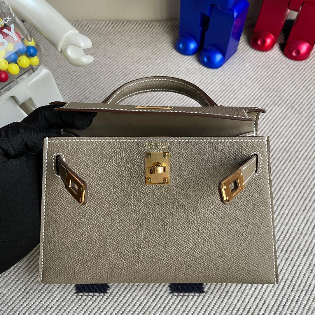 Hermès(爱马仕)Minikelly ll Epsom 原厂掌纹皮 ck18 大象灰 Etoupe 金扣 现货