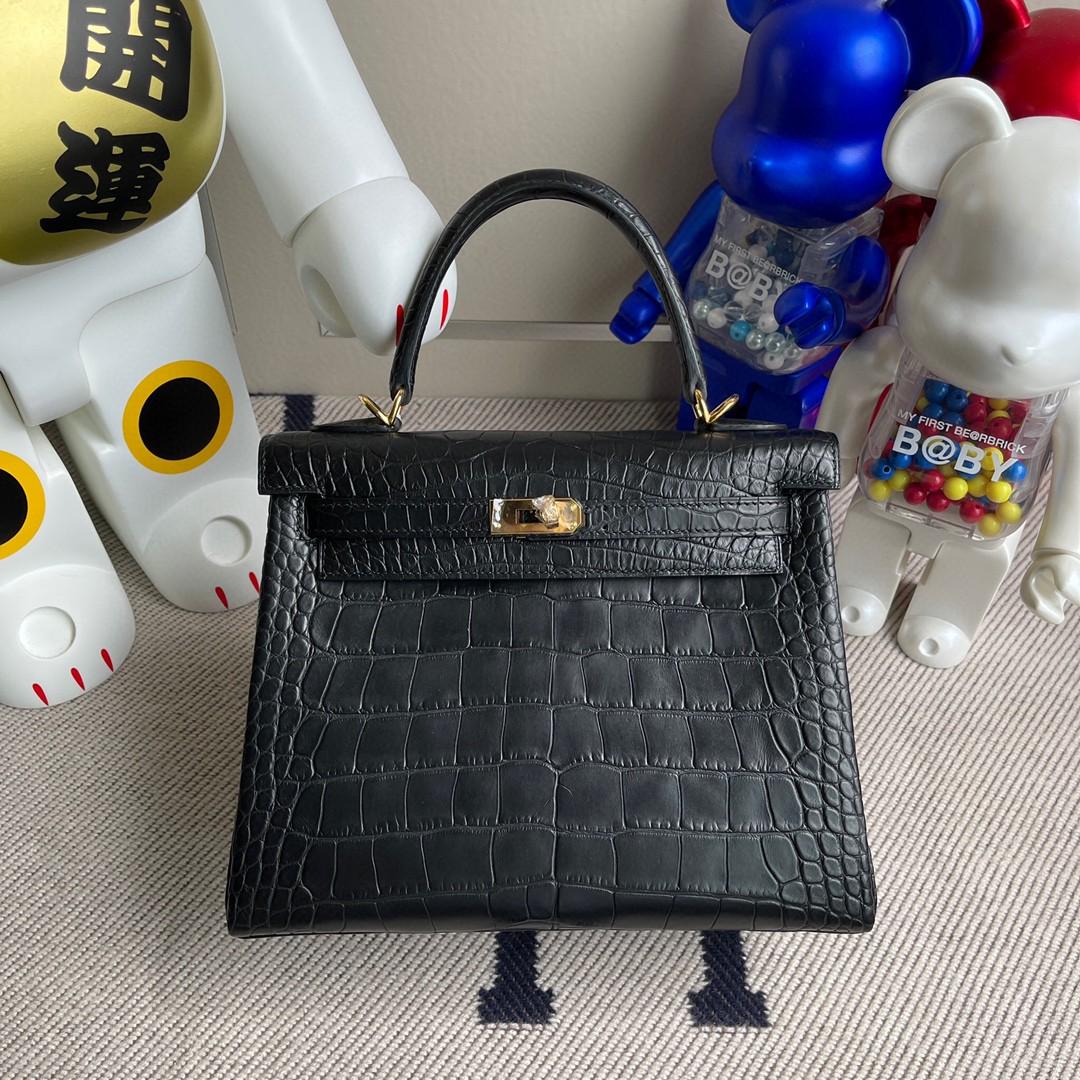 Hermès(爱马仕)Kelly 凯莉包 Alligator matt 雾面鳄鱼 ck89 黑色 Noir 金扣 25cm 顶级手缝 现货
