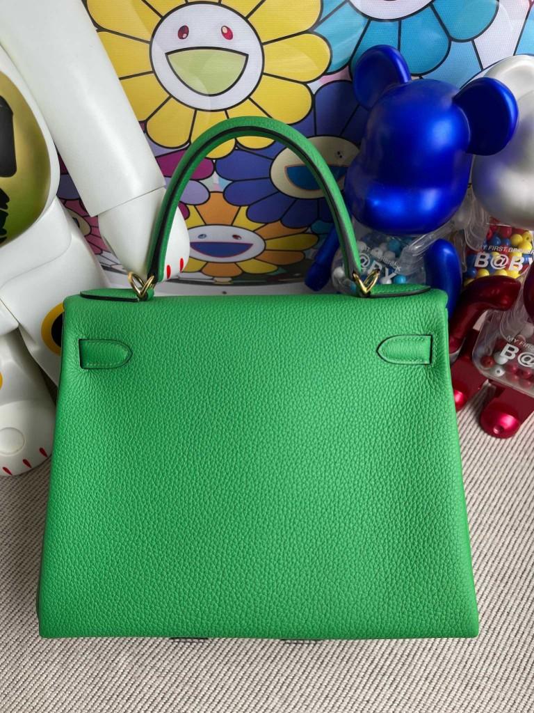 Hermès(爱马仕)kelly 凯莉包 原厂小牛皮 togo 1K 竹子绿 Bamboo 金扣 28cm 顶级手缝