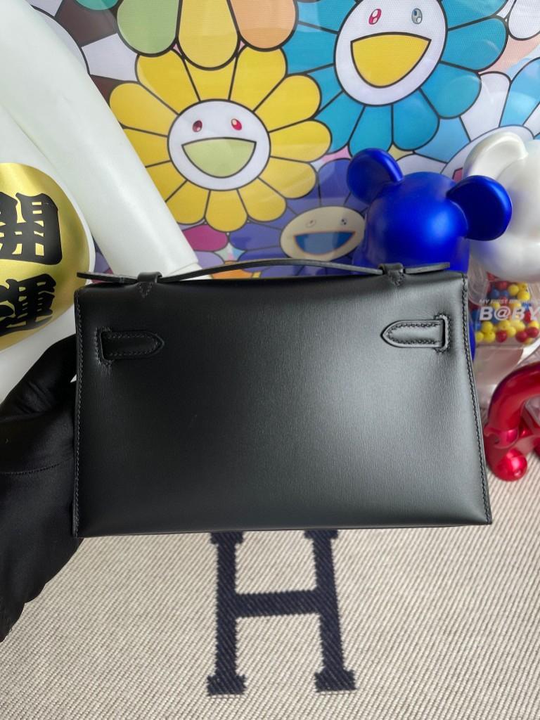 Hermès(爱马仕)Mini kelly pochette Boxcalf 黑色 Noir 银扣  22cm 顶级手缝  手拿包 晚宴包