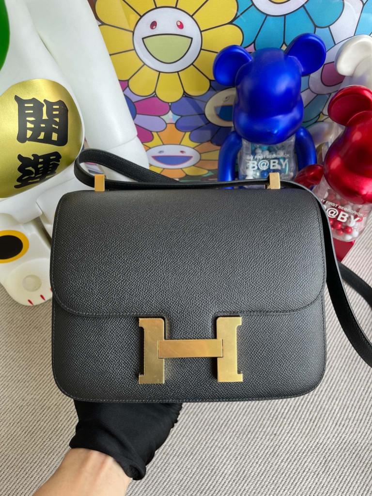 Hermès(爱马仕)Constance 空姐包 Epsom 原厂掌纹皮 ck89 黑色 Noir 金扣 24cm 顶级手缝