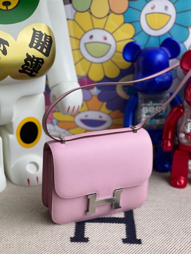 Hermès(爱马仕)Constance 空姐包 Epsom 原厂掌纹皮 X9 锦葵紫 银扣 18cm 顶级手缝