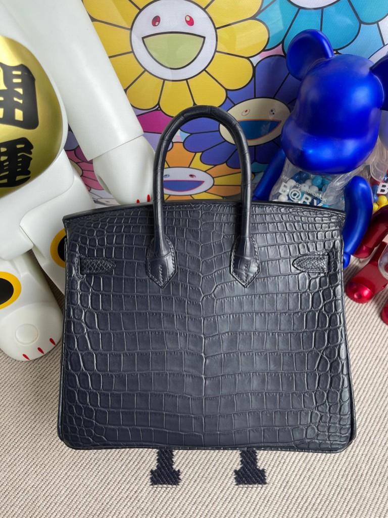 Hermès(爱马仕)Birkin 铂金包 Crocodile matt 雾面鳄鱼 深海蓝 Blue indigo 银扣 25cm 顶级手缝