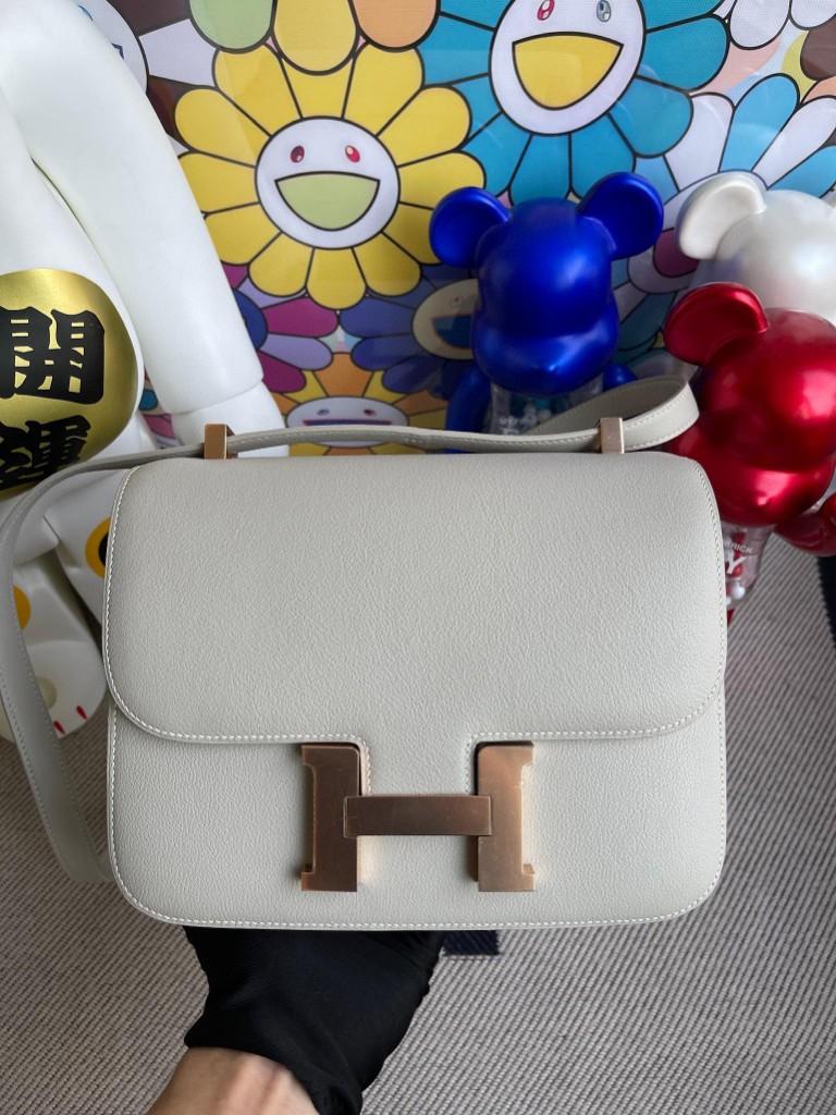 Hermès(爱马仕)Constance 空姐包 evecolor ck80 珍珠灰 金扣 24cm 顶级手缝