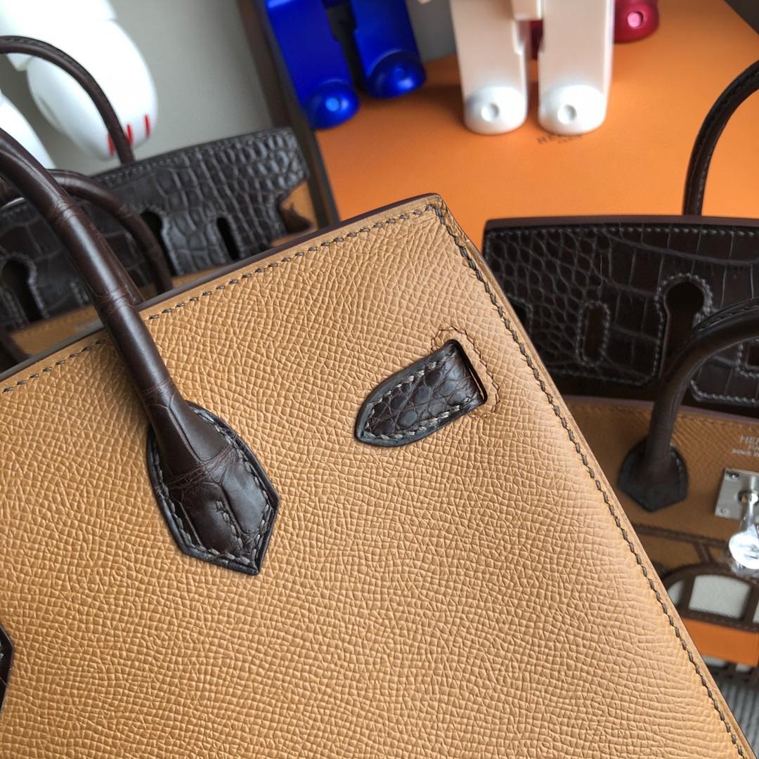 Hermès(爱马仕)Birkin 小房子 棕色 银扣 20cm 顶级手缝