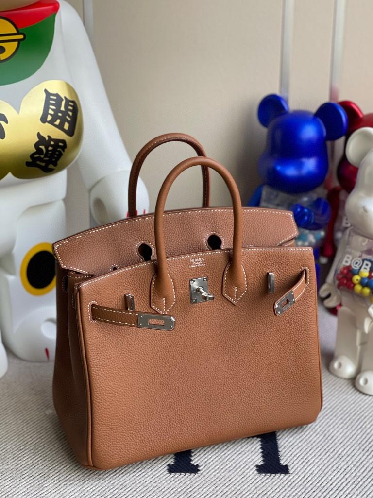Hermès(爱马仕)Birkin 铂金包 原厂小牛皮 togo ck37 金棕色 gold 银扣 25cm 现货