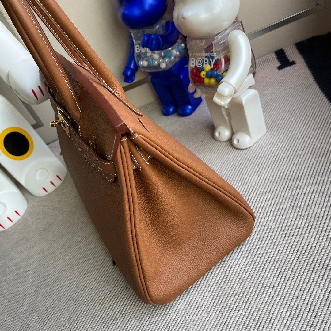 Hermès(爱马仕)Birkin 铂金包 原厂小牛皮 togo  金棕色 gold 金扣 30cm 顶级手缝 现货